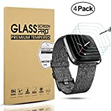 Diruite 4-Pack for Fitbit Versa Lite Edition / Fitbit Versa Tempered Glass Screen Protector for Fitbit Versa Smartwatch [Perfectly Fit] [Optimized Version]
