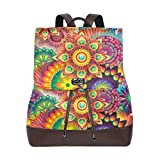 Yuanmeiju Mochila de Cuero Rucksack Abstract Colorful Rainbow Flower Daypack Bags for Girls Boys
