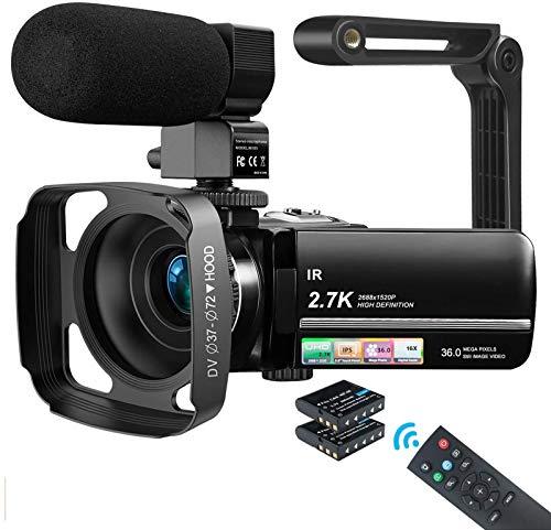 MELCAM Videocamera UHD 2.7K Camcorder 36MP Vlogging Youtube Fotocamera IR Visione Notturna 3.0' IPS Touchscreen 16X Zoom Digital Webcam, con Microfono Cappuccio Stabilizzatore Telecomando 2 Batterie