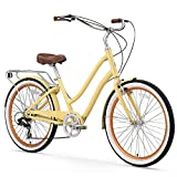 sixthreezero EVRYjourney Women's 7-Speed Step-Through Hybrid Cruiser Bicycle, 26' Wheels with 17.5' Frame, Cream with Brown Seat and Grips, Model:630034