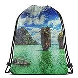 Hdadwy Paisaje Water Island KO Tapu Tailandia Unisex Mochila con cordón Gym Dance Mochila