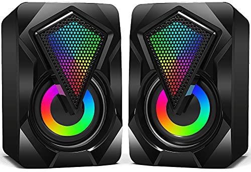 NJSJ Mini Haut parleur PC, RGB Enceinte PC USB 2.0 Système de Stéréo Gaming Haut-parleurs d'Ordinateur Volume Contrôle avec LED Lumière 3,5 mm pour Smartphone Tablette Ordinateur de Bureau