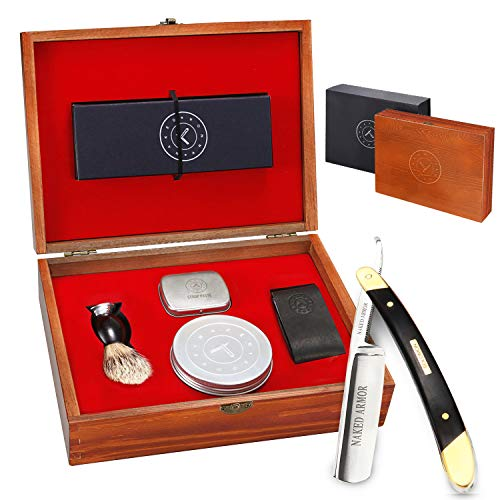 Black Wood Straight Razor Kit - Amazing. Everything You Need in One Box - Cutthroat Shaving Sharp Edge Stainless Steel Blade + Leather Strop, Puck, Beginner Set, Balanced Wood Handle, Great Gift