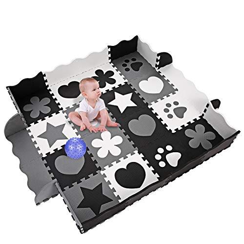 Smibie Spielmatte, Kinder eco schadstofffrei Krabbelmatte 13mm Extra dick Baby Schaumstoffmatte Nicht giftig Kinderteppich mit Tragetasche (18 TLG Krabbeldecke+10 TLG Kanten) (Schwarz)