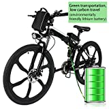 Kemanner 26 inch Electric Mountain Bike 21 Speed 36V 8A Lithium Battery Electric Bicycle for Adult (Black/White)