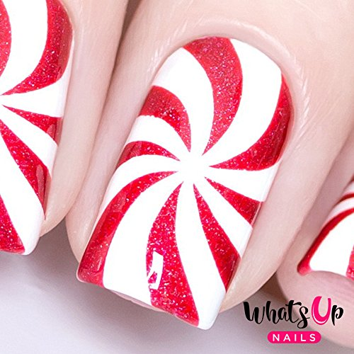 Whats Up Nails - Peppermint Candy Vinyl Stencils for Christmas Nail Art Design (1 Sheet, 12 Stencils)