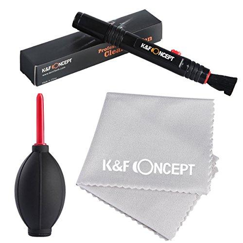 K&F Concept Lens Cleaning Kit, per una Pulizia a Secco di Obiettivi, Lenti, Filtri e Display per Nikon D5200 D5100 D3200 D3100 per Canon Nikon Camera - Include (lente soffiatore di polvere,Penna di pulizia, panno in microfibra) perDSLR Camera