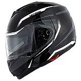 1Storm Motorcycle Street Bike Modular/Flip up Dual Visor/Sun Shield Full Face Helmet Storm Tron White; Size L (57-58 CM,22.4/22.8 Inch)