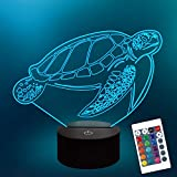 Lampeez Kids 3D Turtle Night Light Optical Illusion Lamp with 16 Colors Remote Control Changing Birthday Xmas Valentine's Day Gift Idea for Boys and Girls
