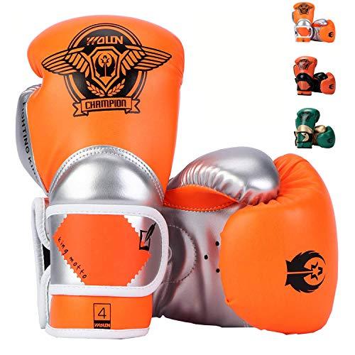 HUINING Q7 - Guanti da boxe per bambini, Arancione e argento., 4oz