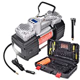 GSPSCN Portable Air Compressor Pump Tire Inflator with Digital Gauge, Heavy Duty Double Cylinder 12V Tire Pump 150 PSI with Tire Repair Kit and Toolbox for Auto,SUV,Off-Road,Truck,Bike