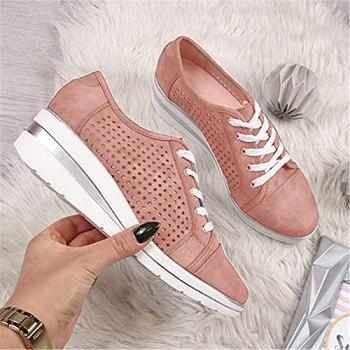 Faxkjeuls Chaussures vintage à lacets pour femme - Baskets décontractées en toile - Plateforme compensée respirante - Talon moyen - Chaussures d'extérieur - Rose - Pointure 36