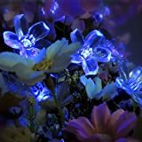 Solar Strings Lights, PUAO 23 Feet 50 LEDs Flower Solar Fairy Lights, Waterproof String Lights for Garden, Patio, Yard, Home, Parties, Christmas Decoration (Blue, 23ft 50LEDs)