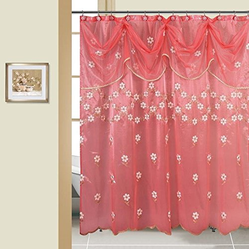 BH Dwelling & Linen Ornamental Sheer Scarf Bathe Curtain with Embroidery Floral Designs 70″ x 72 Inch Product of 100% Polyester. (Maya Raspberry) …