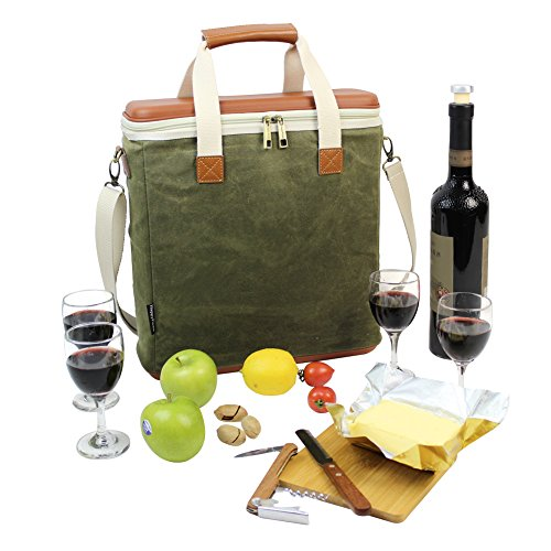 HappyPicnic Wax Canvas 3 Bottle Wine Carrier, EVA Molded Beverage Cooler Bag for Travel, Champagne Drink Carrying Tote with 4 Glasses, Wine Opener & Stopper, Bamboo Cheese Board and Knife Set as Gift