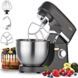 Stand Mixer Aukey Home 8+1-Speed Tilt-Head, 600W Kitchen Electric Mixer with 5QT Stainless Steel Bowl, Planetary Mixing System, Dough Hook, Flat Beater, Whisk, Splash Guard, Dishwasher Safe, Grey