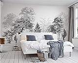 XZCWWH Papier Peint Personnalisé Maison Murale Décorative Arbres Noir Et Blanc Canapé Tv Fond Peintures Murales Papier Peint 3D Papel De Parede,350Cm(W)×256Cm(H)
