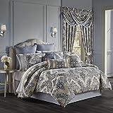 Five Queens Court Geraldine Woven Jacquard Floral Damask Luxury 4 Piece Comforter Set, Indigo, 92x96 Queen
