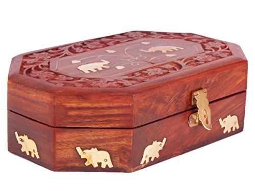 Store Indya, caja de madera tallada a mano de la joyeria con el Real decorativa Mughal Inspirado elefante y de la hoja incrustaciones de laton