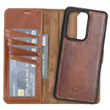 Burkley Case Carson Premium Genuine Leather Magnetic Detachable Snap-on Case Wallet with Flap Closure for Samsung Galaxy S20U (Ultra) (6.9') (Burnished Tan)