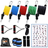FASTSPOK Resistance Bands Set 13pcs with Handles, Door Anchor Attached, Ankle Straps, 150lbs Stackable Rubber Tube Exercise Bands for Home Workout, Strength Training for Men Women