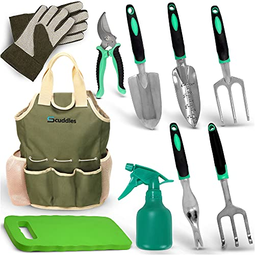 Scuddles Garden Tools Set - 10 Piece Heavy Duty Gardening...