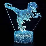 Roman comique dinosaure crack base lumière LED 3D lumière visuelle créative veilleuse...