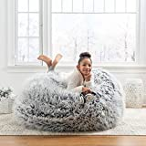 Multi Functional Fluffy Faux Furry Bean Bag Chair for Adults Teens Kids | Silver Grey Home Decor Cool Stylish Modern | Memory Foam Cushy Soft Plush Cozy Fun Comfortable Removable Cover Pouf Ottoman