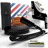 Coffret barbe homme complet par Sapiens - Kit barbe avec rasoir coupe choux, 5 lames Astra, brosse à barbe, peigne à barbe, pochoir à barbe, pochette en tissu - Kit d'accessoires pour barbe