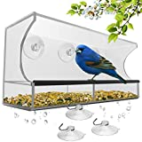 Window Bird Feeder with Strong Suction Cups and Seed Tray, Outdoor Birdfeeders for Wild Birds,...