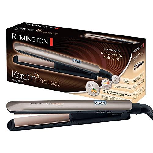 Remington Fer à lisser, Lisseur, Plaques Flottantes Advanced Ceramic, Soin Kératine Huile d'Amande, 9 Températures - S8540 Keratin Protect
