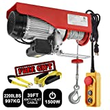 Partsam 2200 lbs Lift Electric Hoist Crane Remote Control Power System, Zinc-Plated Steel Wire Overhead Crane Garage Ceiling Pulley Winch w/Premium Straps (UL/CUL Approval, w/Emergency Stop Switch)