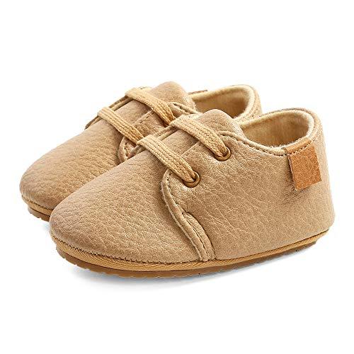LACOFIA Zapatos Oxford con Cordones para Bebé Niños Zapatillas Primeros Pasos Antideslizantes para Bebés Caqui 3-6 Meses