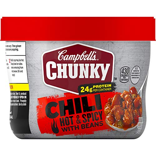 Campbell's ChunkyHot & Spicy Chili with Beans Microwavable Bowl, 15.25 oz. (Pack of 8)