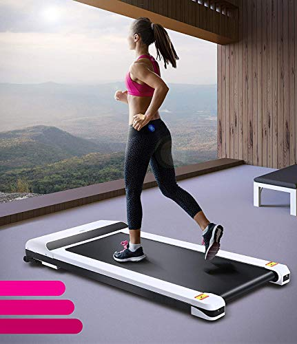 UMAY Portable Treadmill with Foldable Wheels, Under Desk Walking Pad Flat Slim Treadmill, Sports App, Installation-Free, Remote Control, Jogging Running Machine for Home/Office, White 1