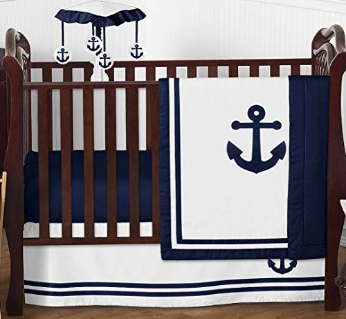 Sweet Jojo Designs Nautical Anchor Baby Boy or Girl Nursery Crib Bedding Set - 4 Pieces - Navy Blue and White Gender Neutral