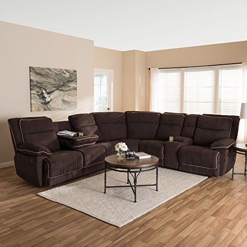 Baxton Studio Sabella Modern and Contemporary Light Brown Fabric Upholstered 7-Piece Reclining Sectional/Contemporary/Brown/Fabric Polyester 100%'/Plywood/Wood Cypress/Metal