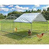 Large Metal Chicken Coop Walk-in Poultry Cage Hen Run House Rabbits Habitat Cage Spire Shaped Coop with Waterproof and Anti-Ultraviolet Cover for Outdoor Backyard Farm Use (10' L x 13' W x 6.4' H)