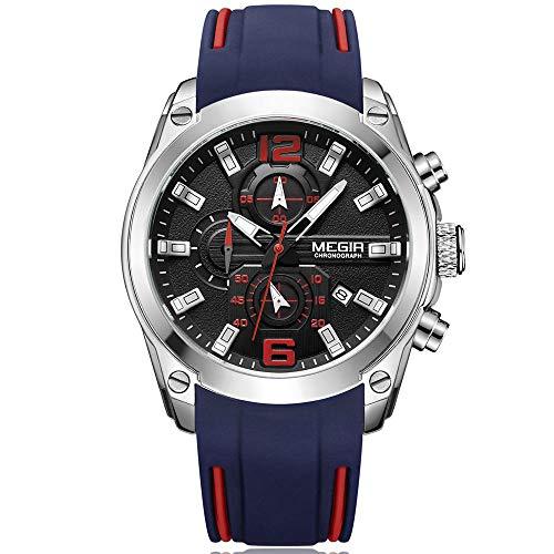 Armbanduhr Sport Herren Uhr Blau und Rot Silikonarmband mit Chronograph Wasserdicht Quarz Uhren für Männer Gross - MEGIR Marken