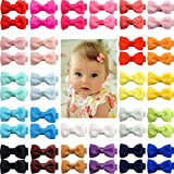 50 Pieces 25 Colors in Pairs Baby Girls Fully Lined Hair Pins Tiny 2' Hair Bows Alligator Clips for Girls Infants Toddlers