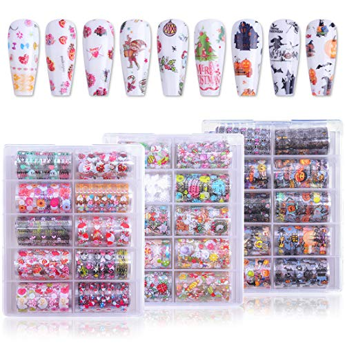 Makartt Nail Art Stickers Kit, 30 Rolls Holiday Theme Nail Foil Christmas Designer Nail Stickers, Nail Decals Nail Foil Transfer Sticker for Women (4x100cm)