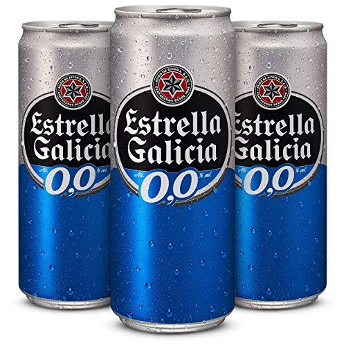 Cerveza sin alcohol Estrella Galicia 0,0 Cerveza - Pack de 24 latas x 330 ml - Total: 7.92 L
