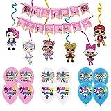 smileh Lol Anniversaire Décoration Lol Ballon Bannière de Joyeux Anniversaire de Lol Tourbillons Suspendus de Lol Surprise Dolls pour Fête d'anniversaire ou Fête d'anniversaire