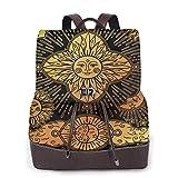 Yuanmeiju Womens Fashion Backpack Summer Flower Flax Flowers Shoulder Schoolbag Leather Travel Bag Girls