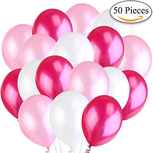 Jonami 50 Luftballons Rosa Weiß Fuchsie Ballon Premiumqualität 36 cm Partyballon Deko Pink 3,2g. Dekoration fur Geburtstag , Baby Dusche Party, Baby Shower