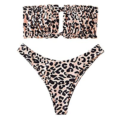 Material: Polyester, Spandex Our Size: S--US 4, M--US 6, L--US 8.Please refer to our size detail in description before ordering Padded Bra, Adjustable Lace Up Back, Natural Waist, High Cut Bottom This strapless bikini features a stretchy ribbed fabri...