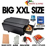 HOT LIFE Big XXL 16-inches Steel Element Electric Tandoor (Black) with Grill Stand, Magic Cloth, Hand Gloves, Recipe Book, 4 Skewers, Pizza Cutter, 4 Shock Proof Rubber Legs