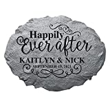 Let's Make Memories Personalized Just Married Stepping Stone - for Newlyweds - Customize with Names & Date - Outdoor Decor