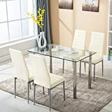 mecor 5 Piece Dining Table Set Tempered Glass Top Dinette Sets with 4 PU Leather Chairs for Dining Room Kitchen Furniture Breakfast,Light Yellow
