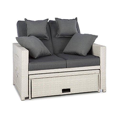 blumfeldt Komfortzone - Gartensofa, Terrassen-Sofa, Rattan-Sofa, 2 Personen, Sitzpolster, stabiles Stahlrohr, ausziehbarer Fußteil, klappbare Rückenlehne, bis 200 kg, inkl. 2 x Kissen, weiß
